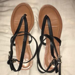 Jessica Simpson Black and brown leather sandals
